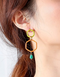 Fashion Light Gray + Orange + Natural Pearl Color Paint Alloy Earrings