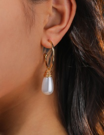 Fashion Gold Color C-shaped Embossed Braided Drop Pearl Earrings