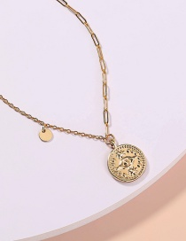 Fashion Gold Color Metal Stitching Chain Devils Eye Necklace