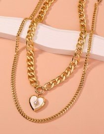 Fashion Gold Color Thick Chain Multi-layer Peach Heart Shell Necklace