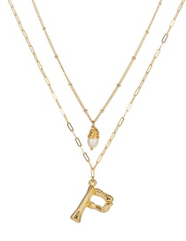 Fashion The Letter P English Letter P Freshwater Pearl Multilayer Necklace