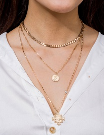 Fashion Gold Color Roman Coin Multilayer Necklace