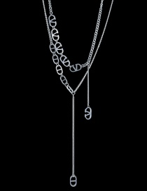 Fashion Steel Color Stainless Steel Double D Necklace