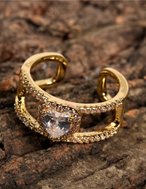 Fashion Gold Color Heart-shaped Zircon Open Ring