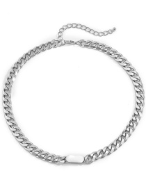 Fashion Silver Color Geometric Metal Buckle Thick Chain Necklace