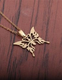 Fashion Gold Color Titanium Steel Full Cut And Polished Butterfly Necklace