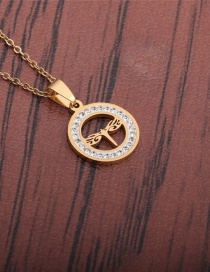 Fashion Gold Color Hollow Dragonfly Round Zircon Necklace