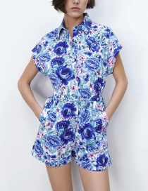 Fashion Blue Flower Print Jumpsuit