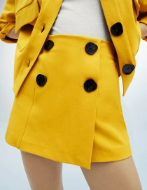Fashion Yellow Buttoned Casual Short Skirt