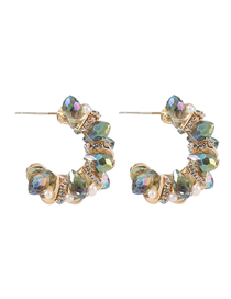 Fashion Jin Cai Alloy Diamond Acrylic C Shape Earrings