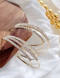 Fashion Gold Color Multilayer Zircon C-shaped Earrings