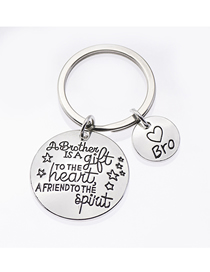 Fashion Silver Color Stainless Steel Keychain Five-pointed Star Brothers Letter Pendant