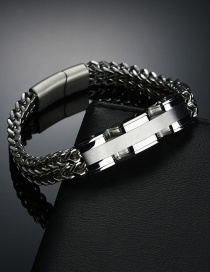 Fashion Steel Color Stainless Steel Braided Mesh Double Row Square Bracelet
