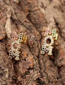 Fashion Color English Mom Letters Inlaid With Colored Diamond Earrings