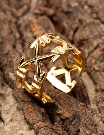Fashion Gold Color X-shaped Open Ring