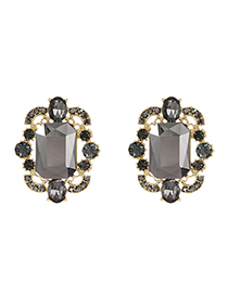 Fashion Gray Alloy Diamond Geometric Shape Ear Studs