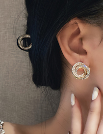 Fashion Silver Color Needle Gold Diamond-studded Pearl Twine Earrings