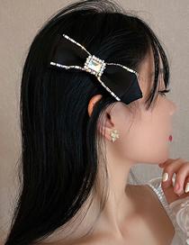 Fashion Black Hairpin Pearl Diamond Flannel Bow Hairpin