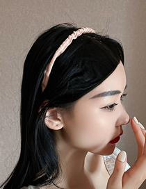 Fashion Light Pink Style One Flannel Pleated Headband