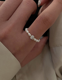 Fashion White Ring Adjustable Ring With Freshwater Pearl And Diamonds