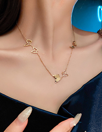 Fashion Gold Color Style Seven Titanium Steel Three-dimensional Butterfly Necklace