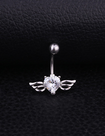 Fashion White Stainless Steel Inlaid Zircon Heart-shaped Wings Belly Button Nail
