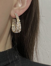 Fashion Gold Color Metal Arc Earrings With Diamonds