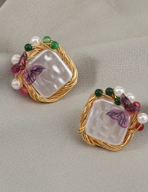 Fashion Color Square Pearl Color Butterfly Earrings