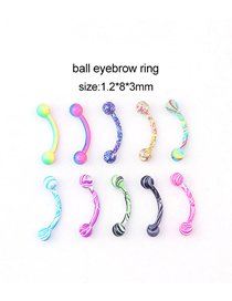 Fashion Spherical Eyebrow Nails (10 Colors/set) Water Grain Paint Stainless Steel Spherical Eyebrow Nails