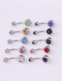 Fashion Purple Piercing Stainless Steel Body Belly Nail Abdomen Double Drill Belly Button Nail Umbilical Ring