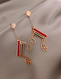 Fashion Rose Gold Alloy Note Ear Studs
