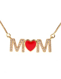 Fashion Golden-mom Red Heart English Mama Letter Necklace