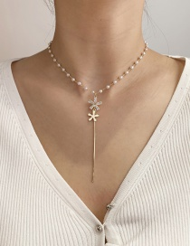 Fashion White Pearl Zircon Flower Y Necklace