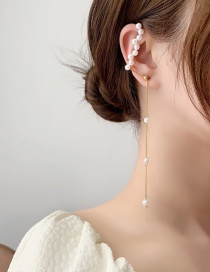 Fashion White Asymmetrical Pearl Stud Earrings One-piece