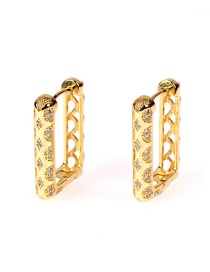 Fashion Gold Color Zircon Inlaid Copper And Real Gold Geometric Square Earrings
