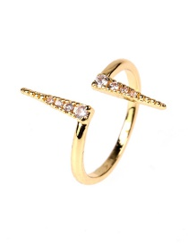 Fashion Gold Color Lightning Heart Rate Copper Diamond Open Heart Ring