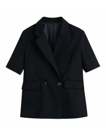 Fashion Black Double-breasted Blazer With Pockets