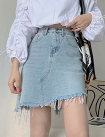 Fashion Blue Irregular Denim Shorts With Washed Raw Edges
