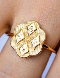 Fashion Gold Color Gold-plated Engraved Metal Ring