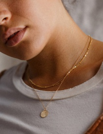 Fashion Gold Color Stainless Steel Round Brand Multi-layer Chain Necklace
