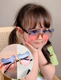 Fashion Blue Pink Gradient Bear Children's Uv Protection Bear Sunglasses