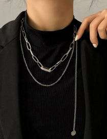 Fashion Silver Color Chain Double Disc Necklace With Diamonds
