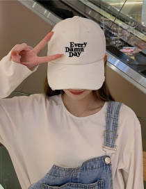Fashion White Soft Top Frayed Letters Baseball Cap