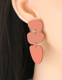 Fashion Red Asymmetric Geometric Earrings