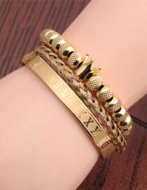 Fashion Gold Color Stainless Steel Letter Crown Braided Bracelet Set