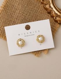 Fashion Gold Color Cross Pearl Earrings