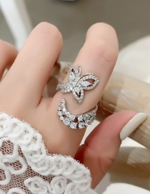 Fashion Silver Color Micro-set Zircon Butterfly Ring