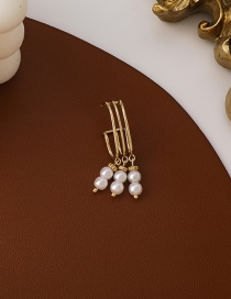 Fashion Gold Color Pearl Tassel Without Pierced Earrings
