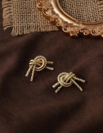 Fashion Gold Color Twisted Metal Knotted Earrings