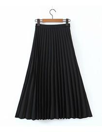 Fashion Black Pure Color Satin Pleated Skirt